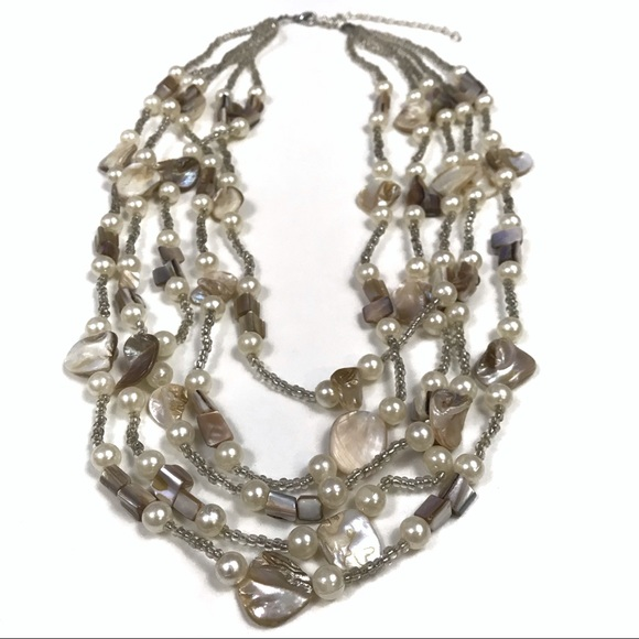 Vintage Jewelry - Shell Seed Bead Faux Pearl Layered Necklace